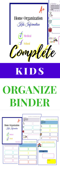 Need to keep your kids school and medical information in order? Would like a simple sheet that you can refer too to leave with the babysitter or relative? Click through to get the free printables to organize your binder. #organizeplanner #freeprintable #kidsorganize