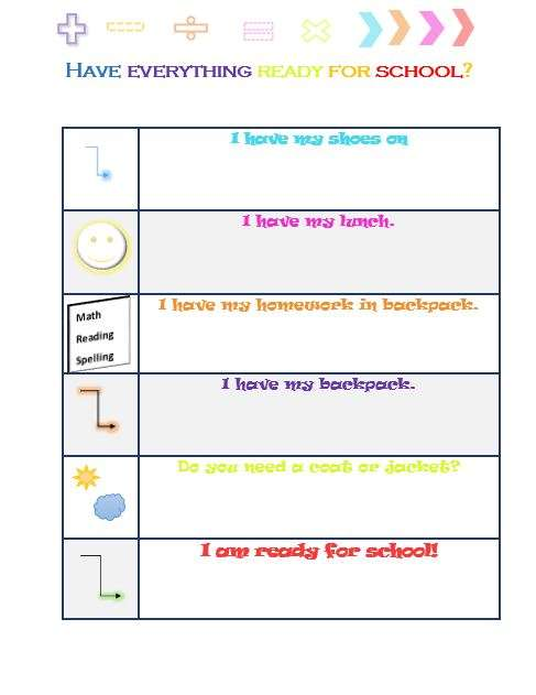 printable for kids getting ready for school