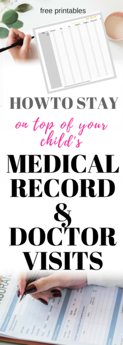 Keeping up on upcoming doctors appointment, shot records and sports physicals can become overwhelming. Then you add multiple children to the mix and you have an overworked brain. To make things easier download medical record free printable to keep your children medical binder in order. Its a great feeling when you can easily refer to the sheet to confirm last and upcoming appointment. GRAB YOUR FREE PRINTABLE., YOUR BRAIN WILL THANK YOU LATER. MEDICAL RECORD|FREE PRINTABLE| MEDICAL BINDER