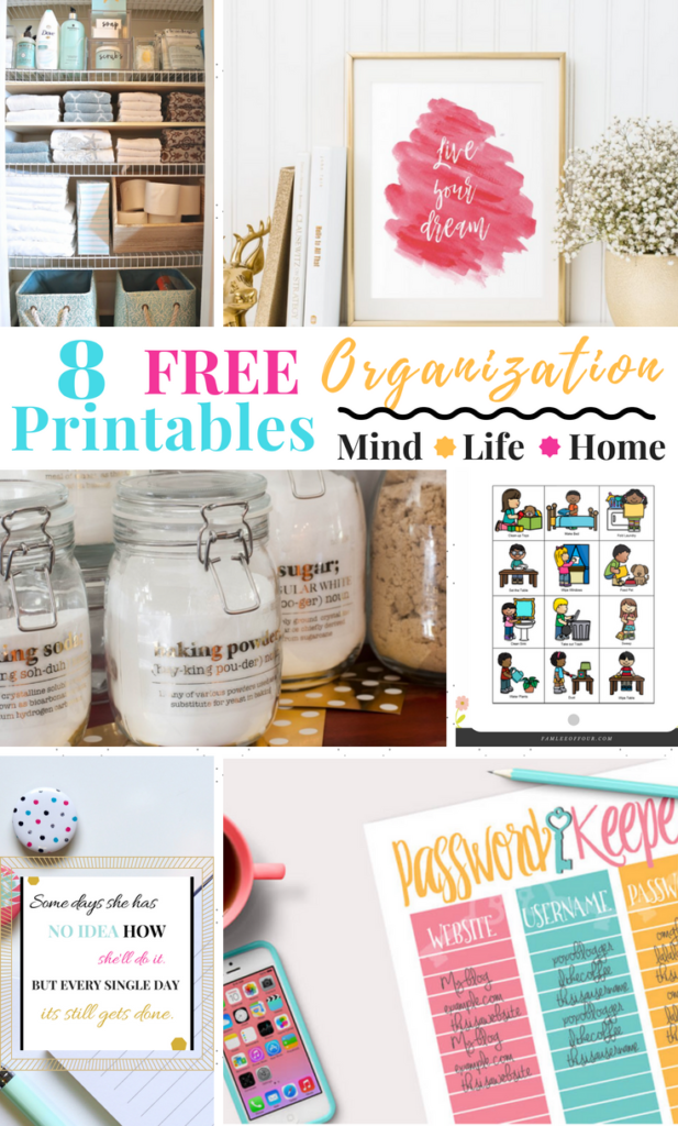 Being Organized is more than simply cleaning the home or reorganizing the closet. Organization also means orgranize your mind, home and life. These free printable will get your life back in order and inspire you to want more. Grab some to hand up, some to organize the home and keep the kids information in order #freeprintable #organizedmom FREE PRINTABLE FOR MOMS